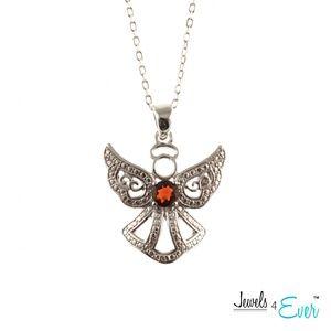 Angel Pendant Chain Set with Genuine Garnet